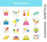 icons birthday. flat style.... | Shutterstock .eps vector #564872116
