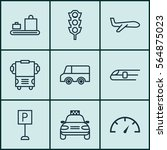 set of 9 vehicle icons.... | Shutterstock .eps vector #564875023