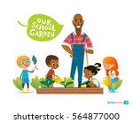 teacher and kids engaged... | Shutterstock . vector #564877000