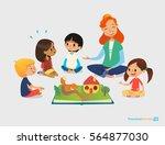 female teacher tells fairy... | Shutterstock . vector #564877030