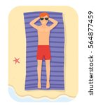 young man relaxing in the beach ... | Shutterstock .eps vector #564877459