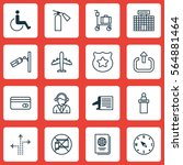 set of 16 traveling icons.... | Shutterstock .eps vector #564881464