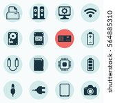 set of 16 computer hardware... | Shutterstock . vector #564885310