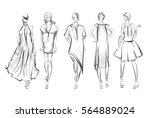 Sketch. Fashion Girls on a white background | Shutterstock vector #564889024