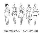 sketch. fashion girls on a... | Shutterstock .eps vector #564889030