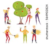 set of farmers using... | Shutterstock .eps vector #564902824