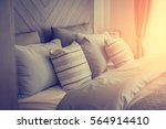 bed maid up with clean white... | Shutterstock . vector #564914410