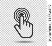 click here icon. hand cursor... | Shutterstock .eps vector #564916540
