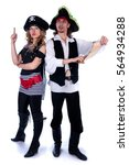 two pirate man and a woman... | Shutterstock . vector #564934288