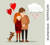 couple with a dog and a bubble... | Shutterstock .eps vector #564943144