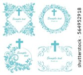 baptism card design with cross. ... | Shutterstock . vector #564952918
