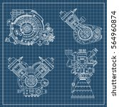 a set of drawings of engines  ... | Shutterstock .eps vector #564960874