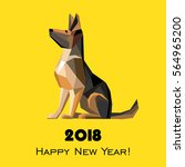 2018 happy new year greeting... | Shutterstock . vector #564965200