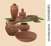 pottery ancient culture and... | Shutterstock .eps vector #564968083