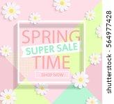 modern geometric pastel spring... | Shutterstock .eps vector #564977428