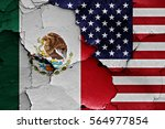 flags of mexico and usa painted ... | Shutterstock . vector #564977854