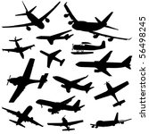 assorted plane silhouettes arriving and departing illustration JPEG - stock photo