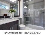 bright new bathroom interior... | Shutterstock . vector #564982780