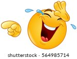 emoticon laughing and wiping... | Shutterstock .eps vector #564985714