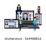 laptop computer  smartphone and ... | Shutterstock .eps vector #564988816