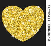 golden heart. gold frame and a... | Shutterstock .eps vector #565001758