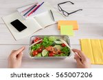 healthy business lunch in the... | Shutterstock . vector #565007206