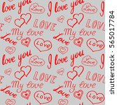 seamless pattern of hearts and... | Shutterstock .eps vector #565017784