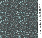 seamless pattern of hearts and... | Shutterstock .eps vector #565018018