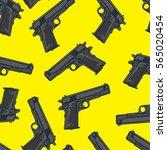 guns pistols seamless pattern.... | Shutterstock .eps vector #565020454