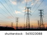 electricity pylons and power... | Shutterstock . vector #565023088