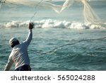 Fishermen Fishing With Net At...