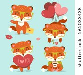 vector valentine's day fox with ... | Shutterstock .eps vector #565033438