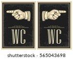 pointing finger. vector vintage ... | Shutterstock .eps vector #565043698