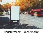 illuminated blank billboard...   Shutterstock . vector #565046500
