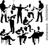 guitarists silhouettes... | Shutterstock .eps vector #565050094