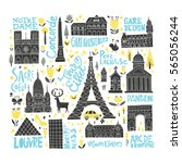 collection of paris tourist... | Shutterstock .eps vector #565056244