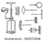 big set of corkscrew in vintage ... | Shutterstock .eps vector #565072048