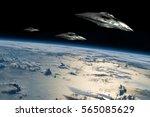 a small fleet of flying saucers ...   Shutterstock . vector #565085629