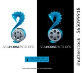 seahorse shaped movie concept... | Shutterstock .eps vector #565099918