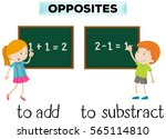 opposite words for add and... | Shutterstock .eps vector #565114810