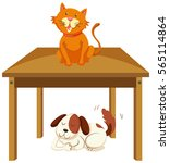 cat on the table and dog under... | Shutterstock .eps vector #565114864