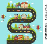 roadmap with buildings and cars ... | Shutterstock .eps vector #565116916