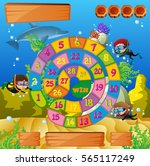 boardgame template with kids... | Shutterstock .eps vector #565117249