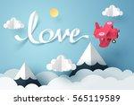 paper art of love calligraphy... | Shutterstock .eps vector #565119589