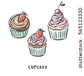 sweet cupcake print | Shutterstock .eps vector #565123330