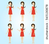 set of girl character | Shutterstock . vector #565130878