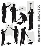 painting service silhouette... | Shutterstock .eps vector #565143520