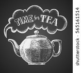 teapot drawn on chalkboard with ... | Shutterstock .eps vector #565161514