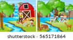 kids farming by a stream... | Shutterstock .eps vector #565171864