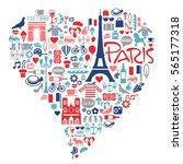 paris france icons  landmarks ... | Shutterstock .eps vector #565177318